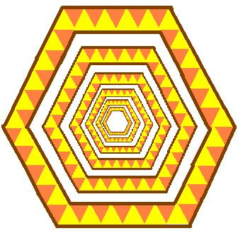 hexagons in the hexagons - brown and yellow edition.JPG